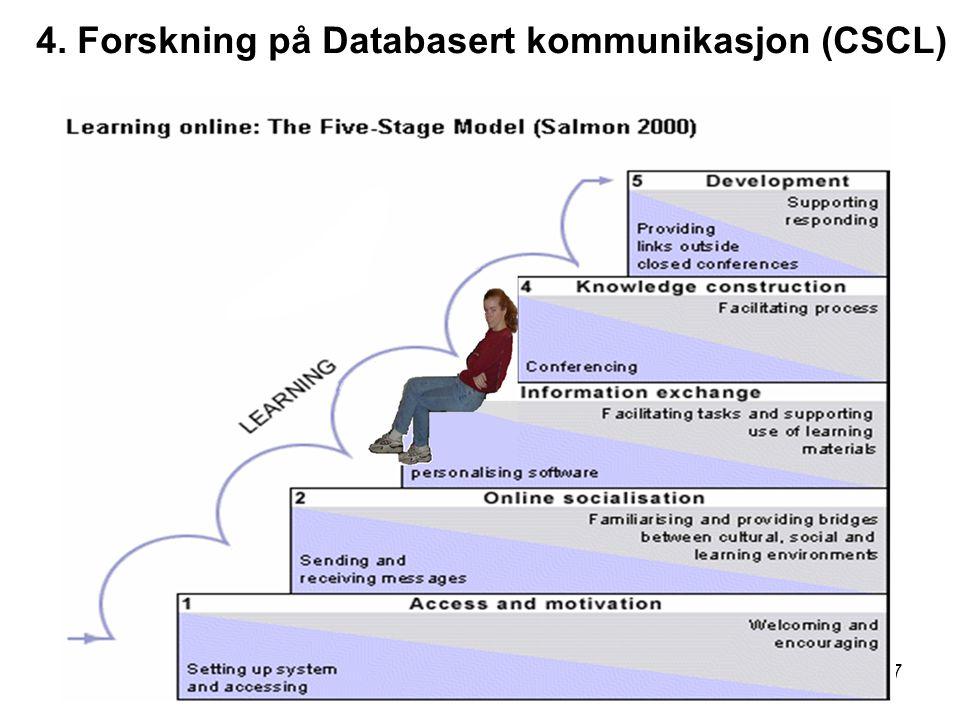 17 4. Forskning på Databasert kommunikasjon (CSCL)