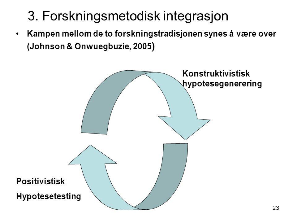 23 •Kampen mellom de to forskningstradisjonen synes å være over (Johnson & Onwuegbuzie, 2005 ) Positivistisk Hypotesetesting Konstruktivistisk hypotes