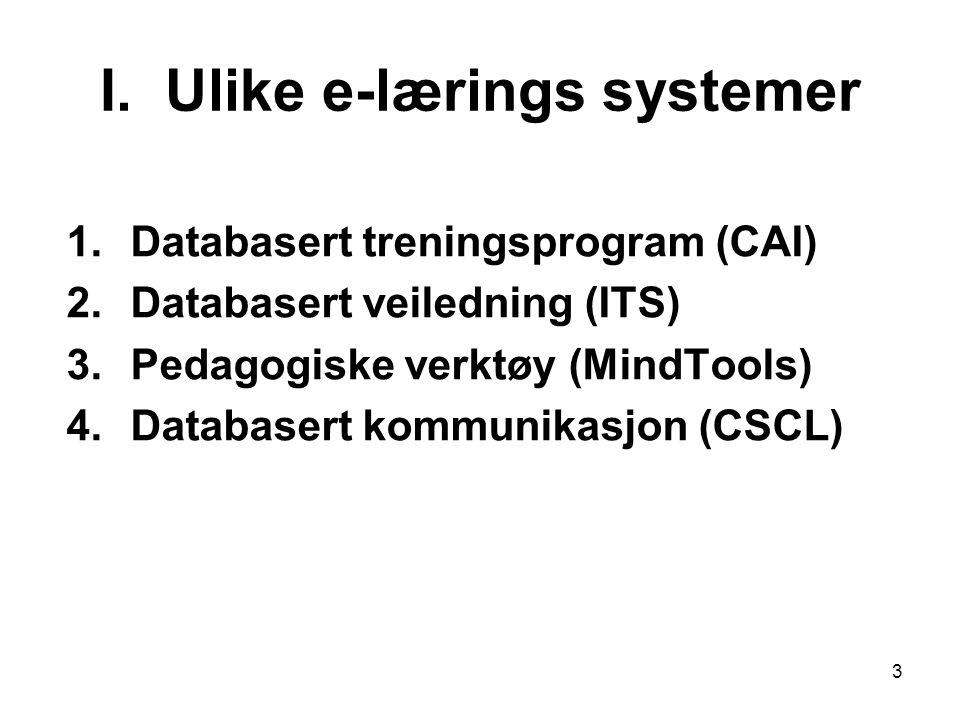 3 I. Ulike e-lærings systemer 1.Databasert treningsprogram (CAI) 2.Databasert veiledning (ITS) 3.Pedagogiske verktøy (MindTools) 4.Databasert kommunik