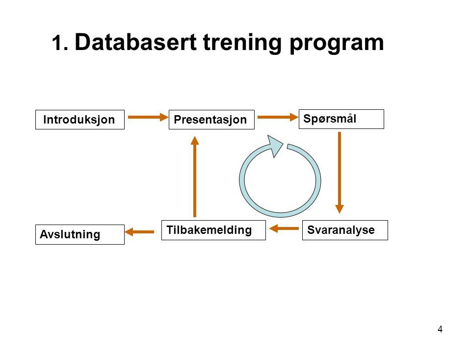 4 1. Databasert trening program IntroduksjonPresentasjon Spørsmål SvaranalyseTilbakemelding Avslutning