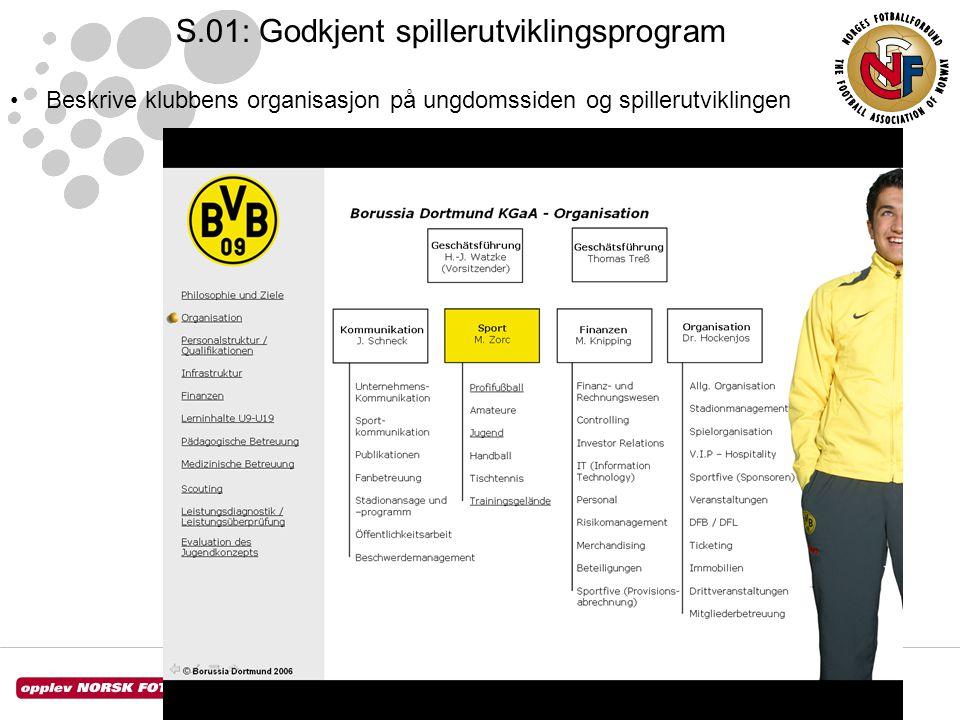 S.01: Godkjent spillerutviklingsprogram •Beskrive klubbens organisasjon på ungdomssiden og spillerutviklingen