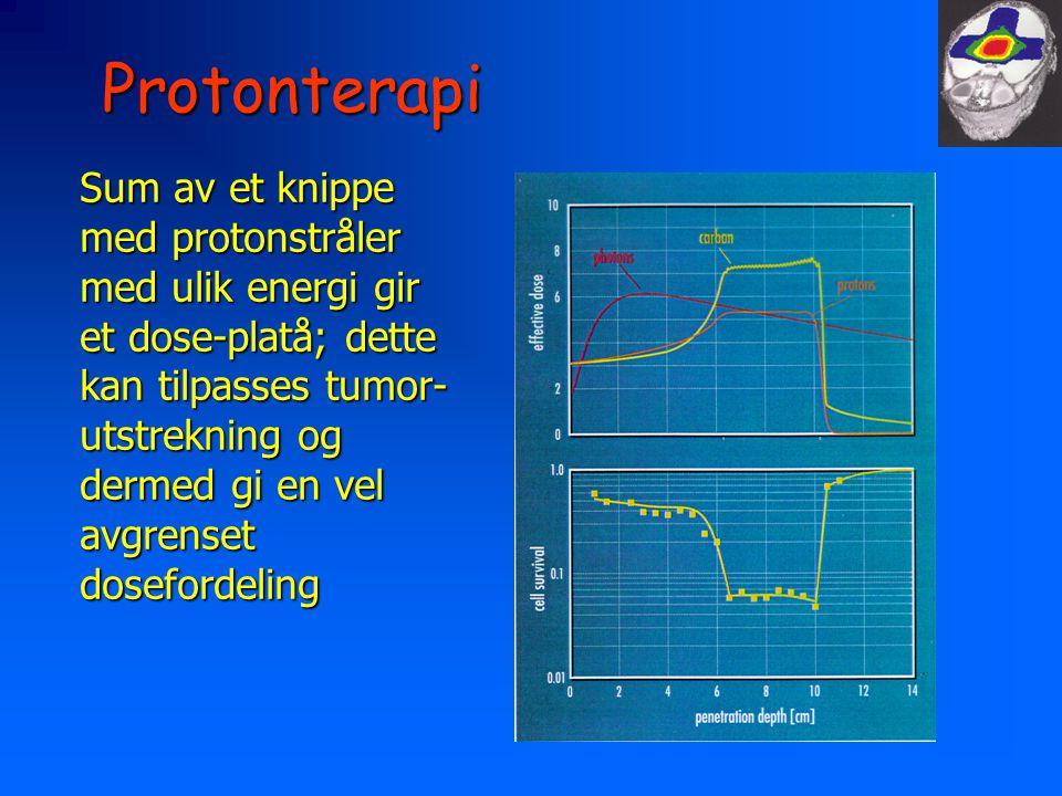 Protonterapi Sum av et knippe med protonstråler med ulik energi gir et dose-platå; dette kan tilpasses tumor- utstrekning og dermed gi en vel avgrenset dosefordeling