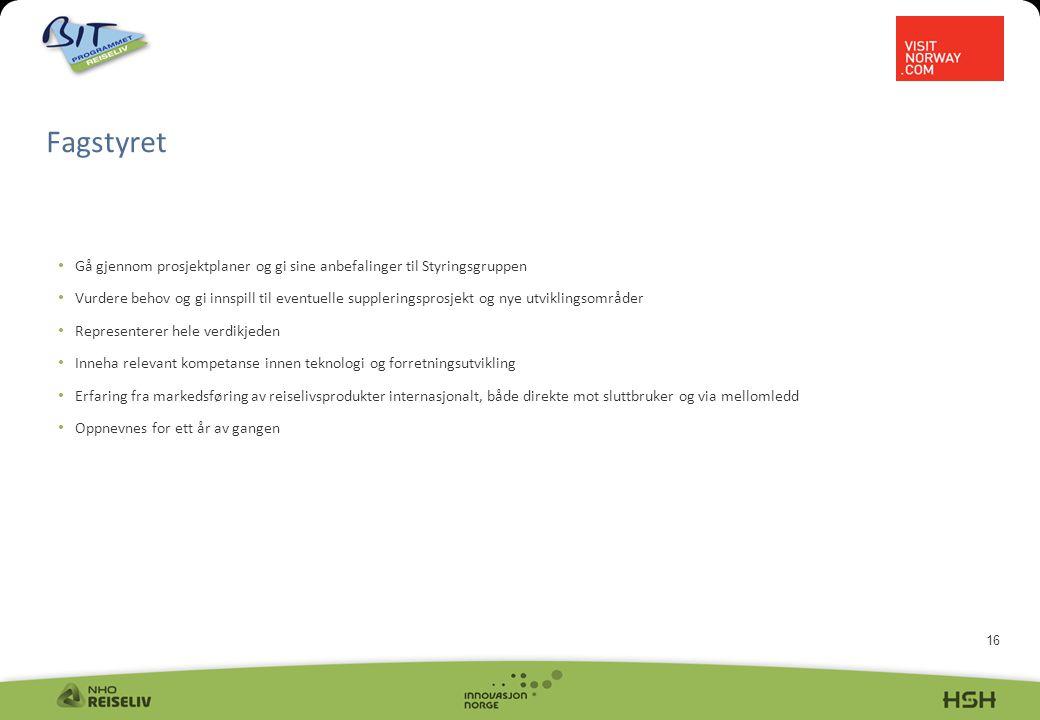 16 Fagstyret • Gå gjennom prosjektplaner og gi sine anbefalinger til Styringsgruppen • Vurdere behov og gi innspill til eventuelle suppleringsprosjekt og nye utviklingsområder • Representerer hele verdikjeden • Inneha relevant kompetanse innen teknologi og forretningsutvikling • Erfaring fra markedsføring av reiselivsprodukter internasjonalt, både direkte mot sluttbruker og via mellomledd • Oppnevnes for ett år av gangen