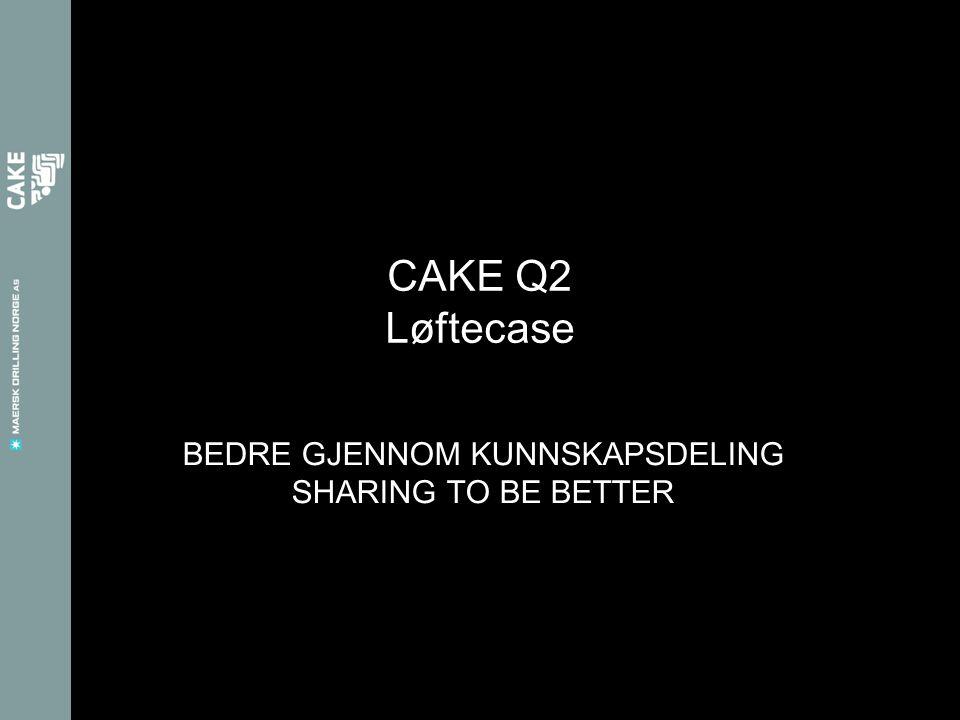 BEDRE GJENNOM KUNNSKAPSDELING SHARING TO BE BETTER CAKE Q2 Løftecase
