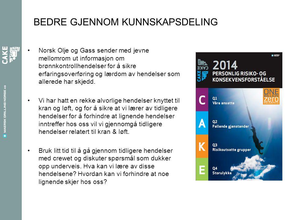 BEDRE GJENNOM KUNNSKAPSDELING •Norsk Olje og Gass sender med jevne mellomrom ut informasjon om brønnkontrollhendelser for å sikre erfaringsoverføring og lærdom av hendelser som allerede har skjedd.