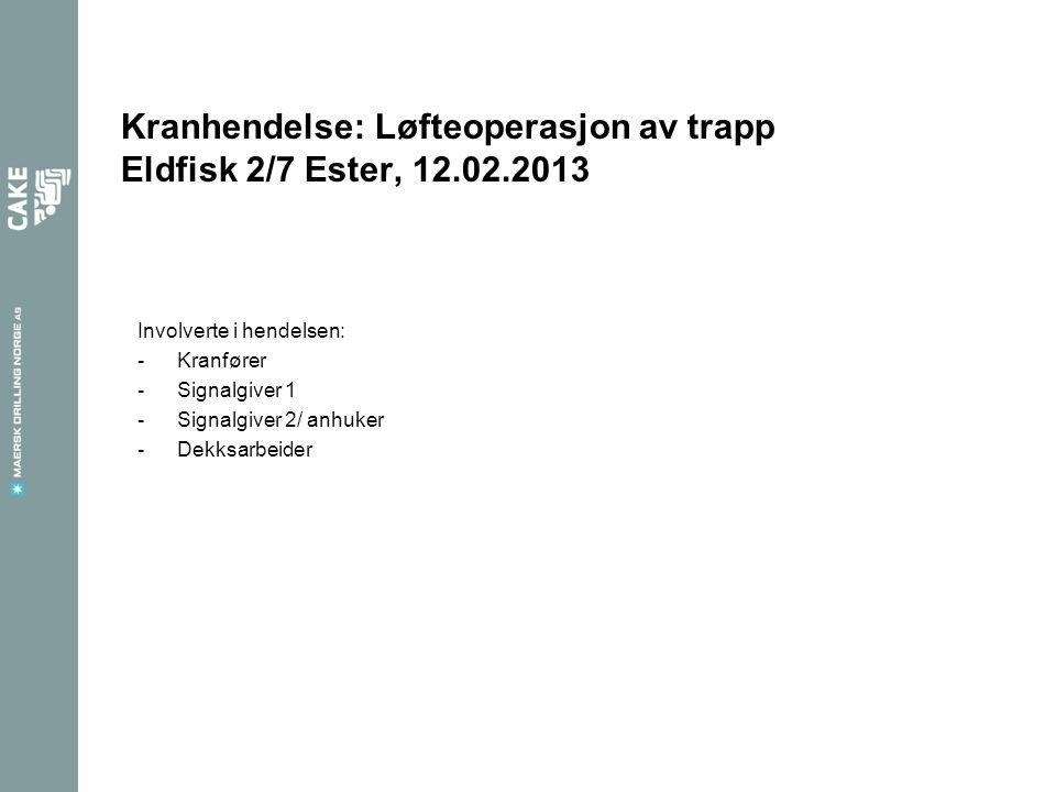 Kranhendelse: Løfteoperasjon av trapp Eldfisk 2/7 Ester, 12.02.2013 Involverte i hendelsen: -Kranfører -Signalgiver 1 -Signalgiver 2/ anhuker -Dekksarbeider