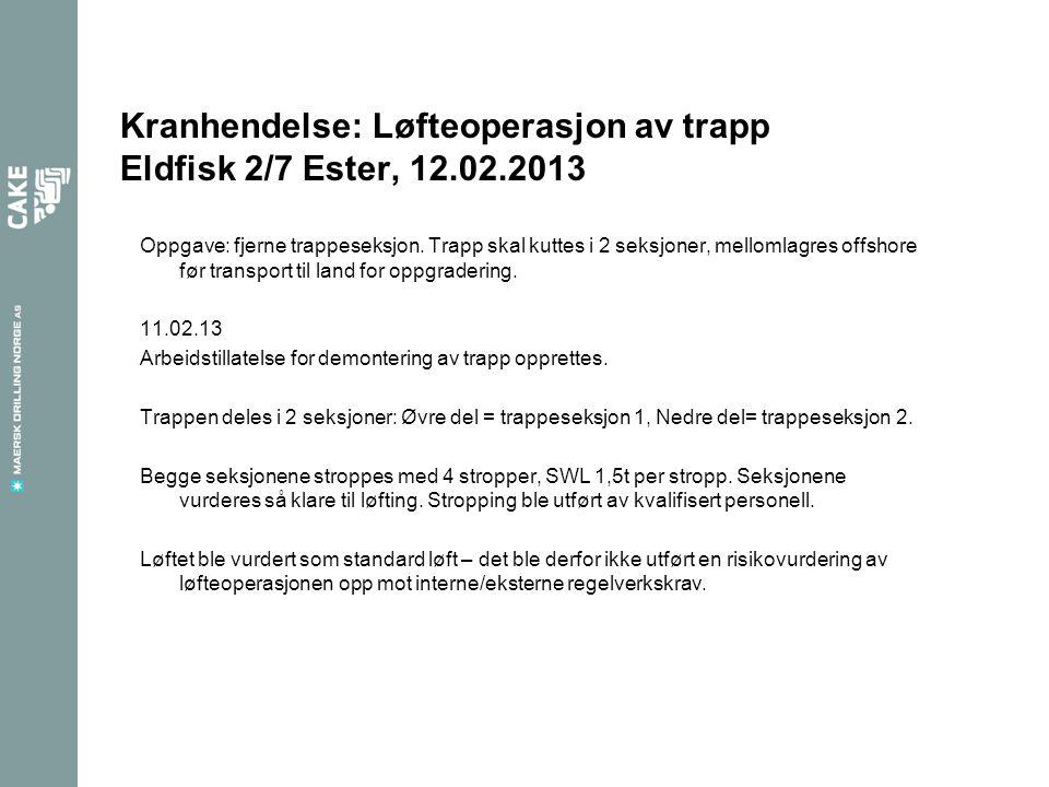 Kranhendelse: Løfteoperasjon av trapp Eldfisk 2/7 Ester, 12.02.2013 Oppgave: fjerne trappeseksjon. Trapp skal kuttes i 2 seksjoner, mellomlagres offsh