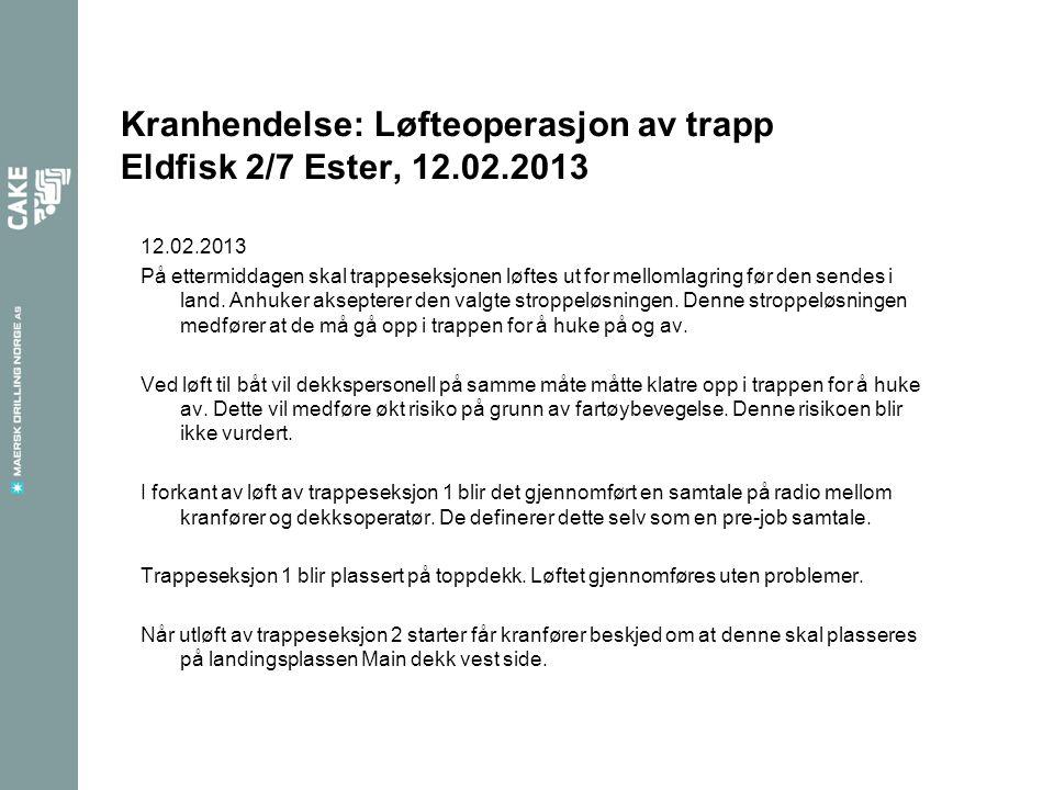 12.02.2013 På ettermiddagen skal trappeseksjonen løftes ut for mellomlagring før den sendes i land.