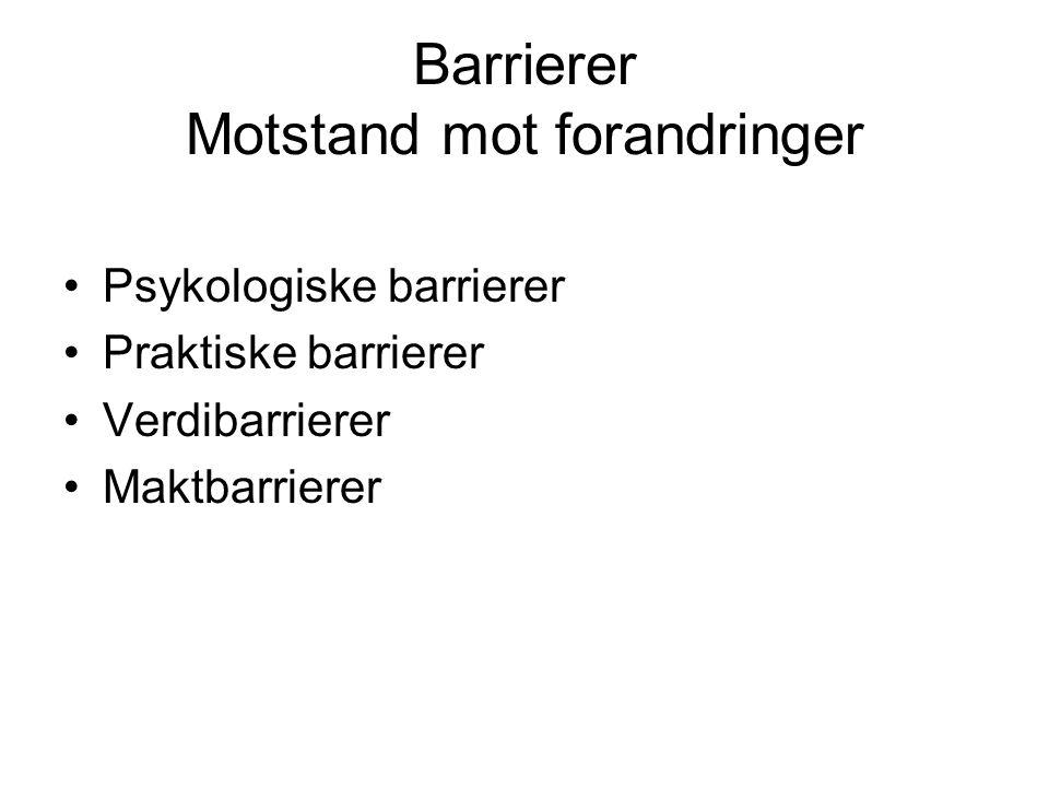 Barrierer Motstand mot forandringer •Psykologiske barrierer •Praktiske barrierer •Verdibarrierer •Maktbarrierer