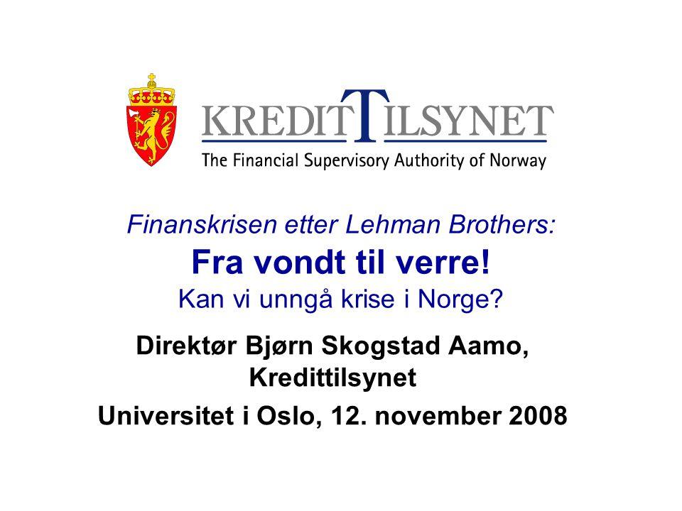 32 Noen grunner til at vi kan unngå krise (1) •Det norske tilsynet omfatter alle deler av finansmarkedene, og det er både i regelverk og tilsyn lagt vekt på en konsolidert tilnærming •I Norge er bankene dominerende ved utlån til bolig, og vi har ikke subprime-boliglån.
