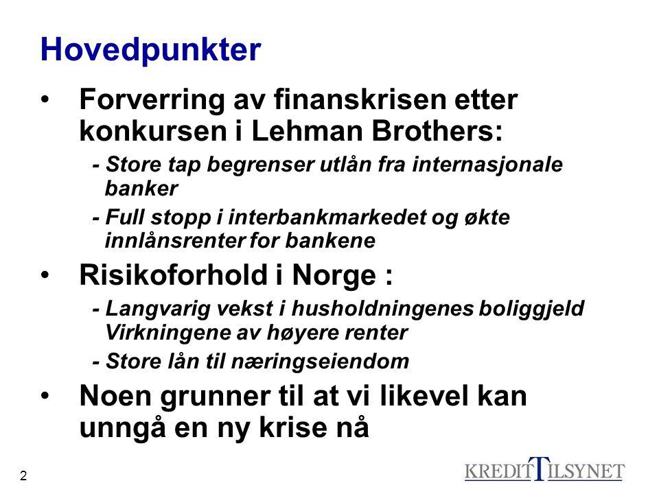 33 Noen grunner til at vi kan unngå krise (2) •Norske banker er solide etter flere år med gode resultater, og bankene er i stand til å møte en periode med svakere resultater og tap.