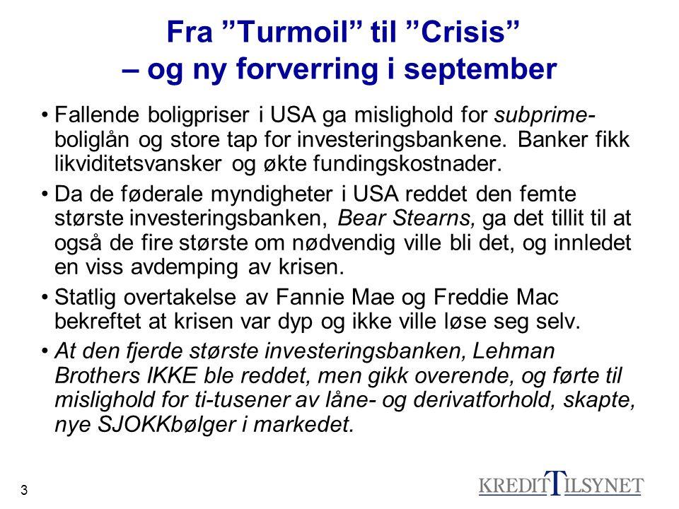 3 Fra Turmoil til Crisis – og ny forverring i september •Fallende boligpriser i USA ga mislighold for subprime- boliglån og store tap for investeringsbankene.