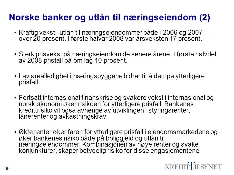 30 Norske banker og utlån til næringseiendom (2) •Kraftig vekst i utlån til næringseiendommer både i 2006 og 2007 – over 20 prosent.