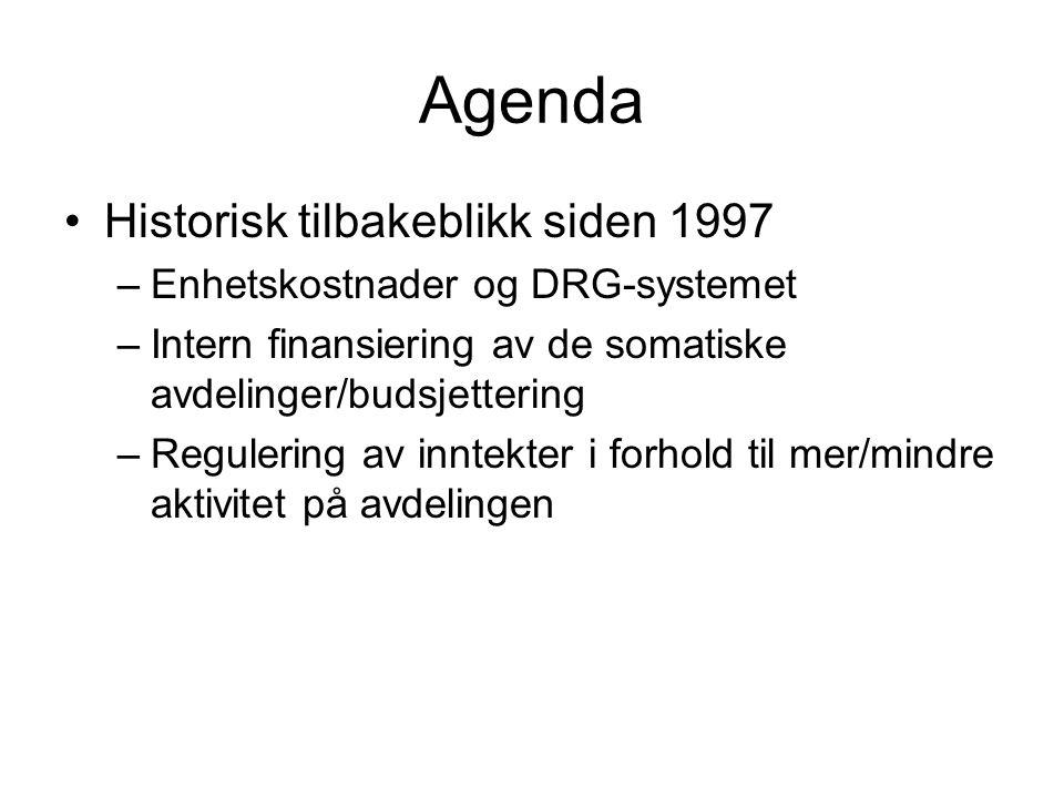 Agenda •Historisk tilbakeblikk siden 1997 –Enhetskostnader og DRG-systemet –Intern finansiering av de somatiske avdelinger/budsjettering –Regulering a