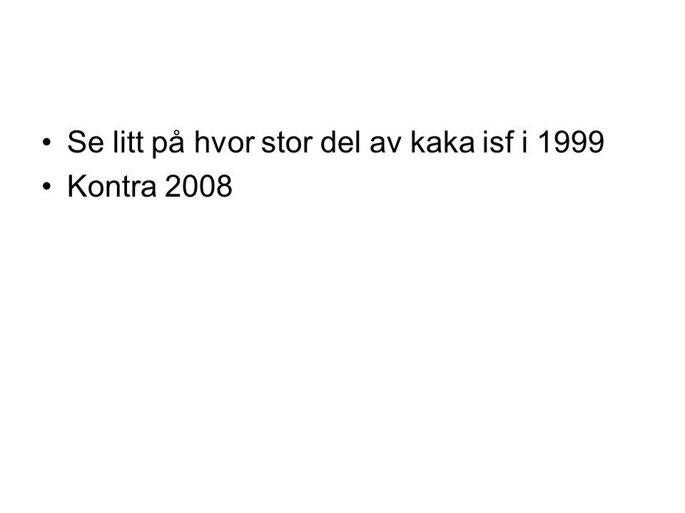 •Se litt på hvor stor del av kaka isf i 1999 •Kontra 2008