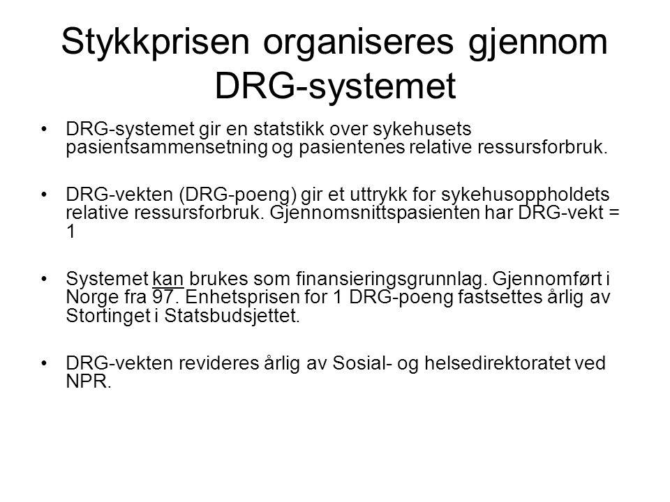 Stykkprisen organiseres gjennom DRG-systemet •DRG-systemet gir en statstikk over sykehusets pasientsammensetning og pasientenes relative ressursforbru