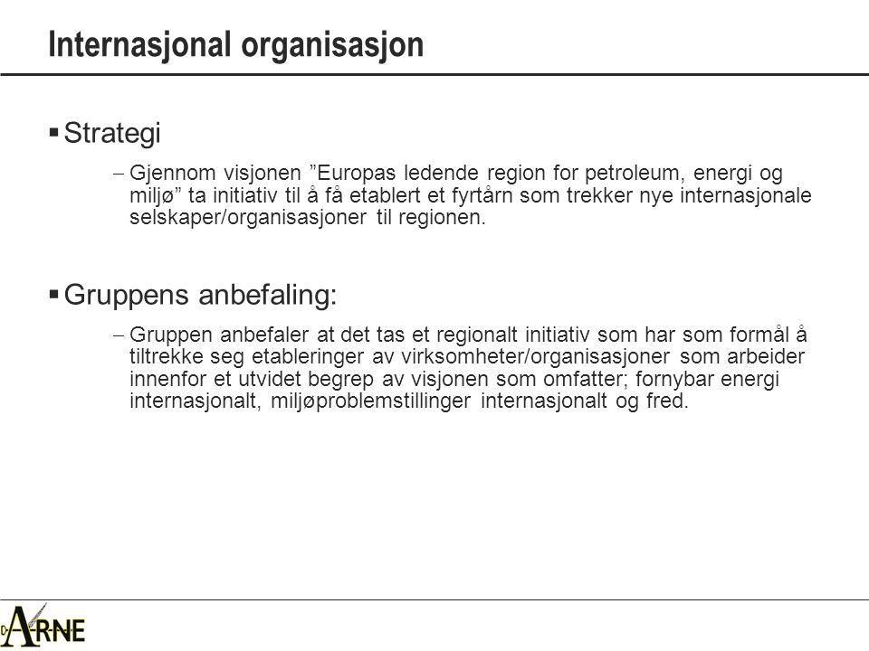 Internasjonal organisasjon  Strategi  Gjennom visjonen Europas ledende region for petroleum, energi og miljø ta initiativ til å få etablert et fyrtårn som trekker nye internasjonale selskaper/organisasjoner til regionen.