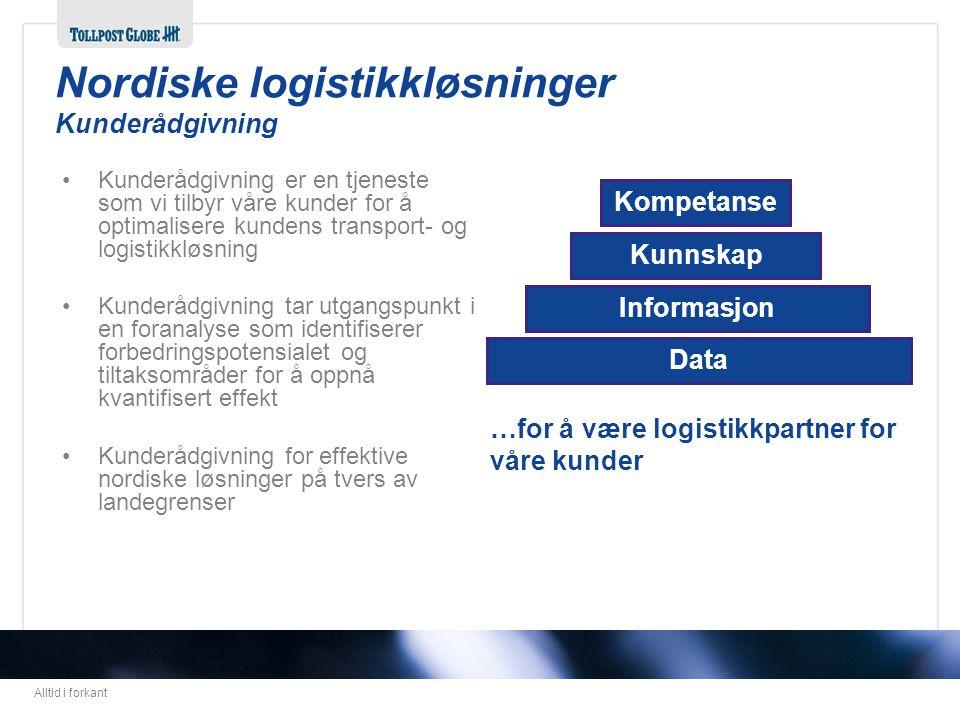 Alltid i forkant Data Informasjon Kunnskap Kompetanse …for å være logistikkpartner for våre kunder •Kunderådgivning er en tjeneste som vi tilbyr våre