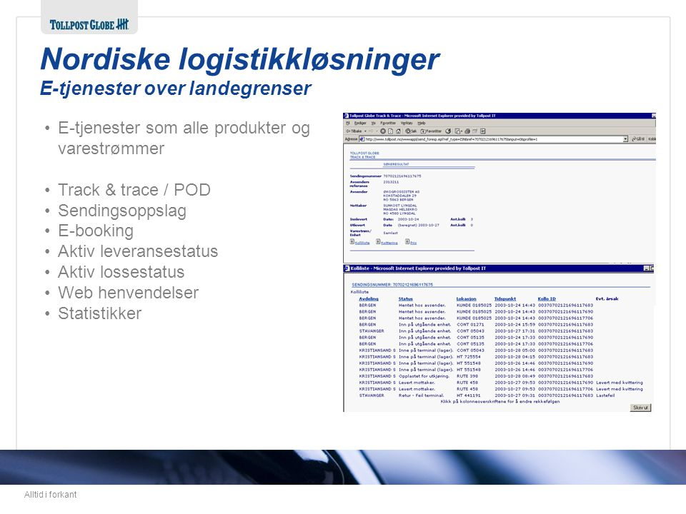 Alltid i forkant •E-tjenester som alle produkter og varestrømmer •Track & trace / POD •Sendingsoppslag •E-booking •Aktiv leveransestatus •Aktiv losses