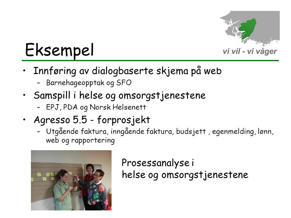 Eksempel •Innføring av dialogbaserte skjema på web –Barnehageopptak og SFO •Samspill i helse og omsorgstjenestene –EPJ, PDA og Norsk Helsenett •Agress