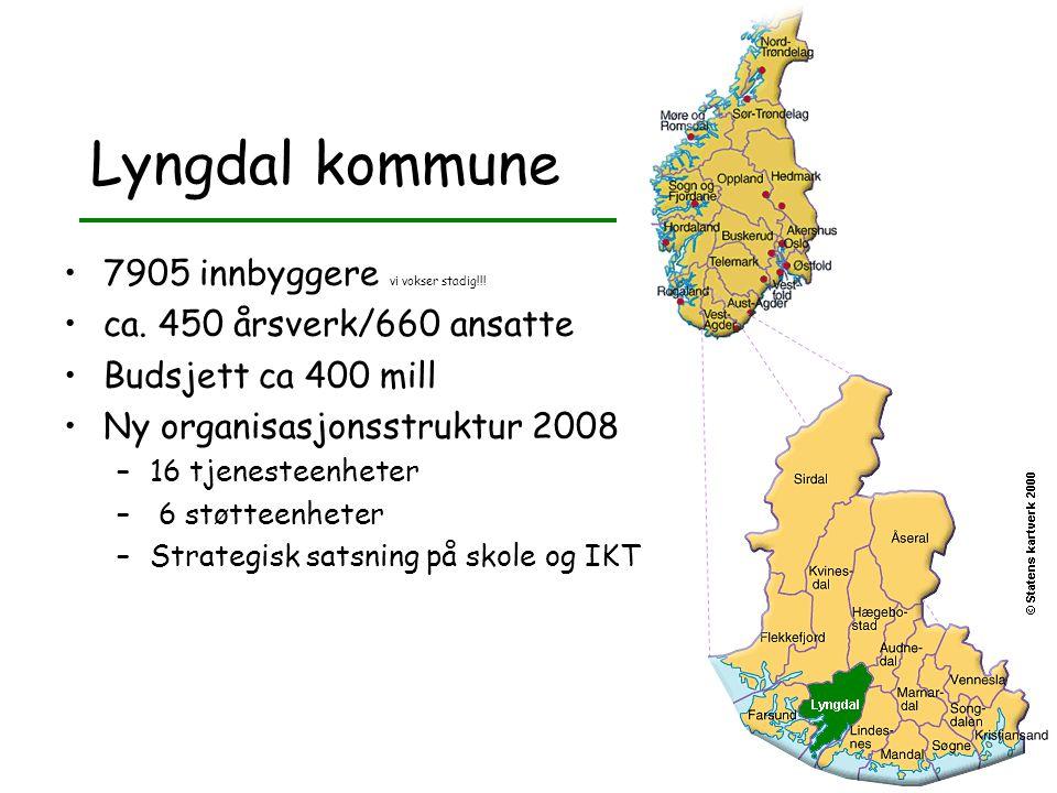 Lyngdal kommune •7905 innbyggere vi vokser stadig!!! •ca. 450 årsverk/660 ansatte •Budsjett ca 400 mill •Ny organisasjonsstruktur 2008 –16 tjenesteenh