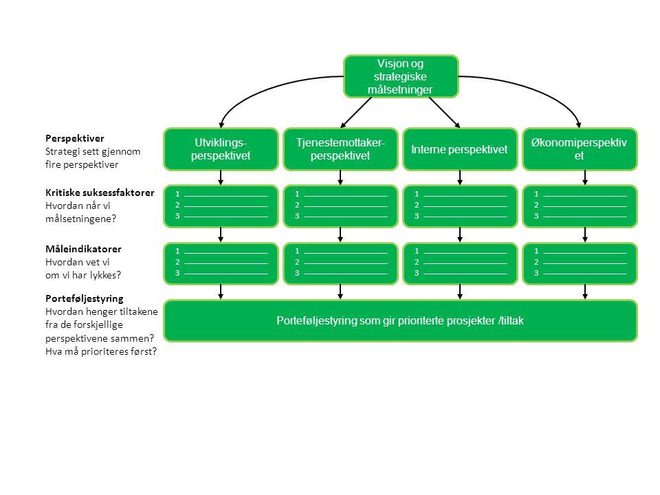 Visjon og strategiske målsetninger Utviklings- perspektivet Tjenestemottaker- perspektivet Interne perspektivet Økonomiperspektiv et Porteføljestyring