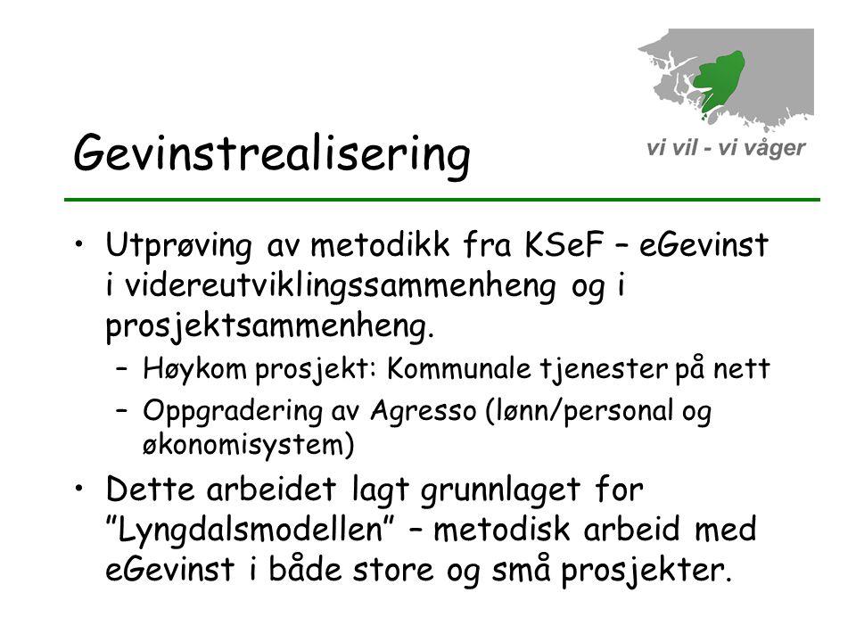Gevinstrealisering •Utprøving av metodikk fra KSeF – eGevinst i videreutviklingssammenheng og i prosjektsammenheng. –Høykom prosjekt: Kommunale tjenes