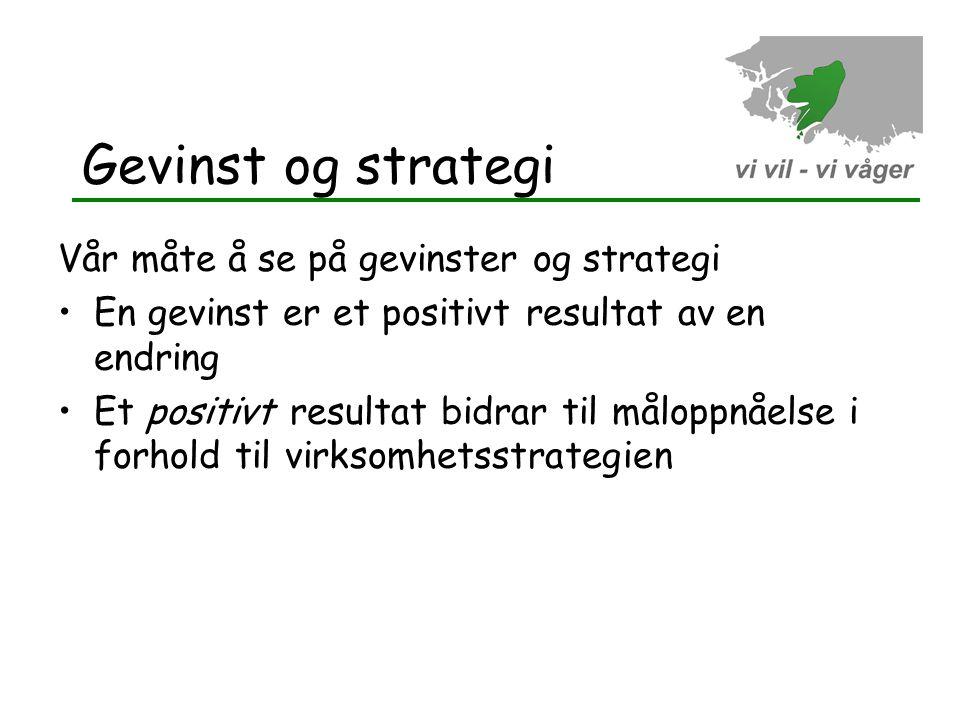 Gevinst og strategi Vår måte å se på gevinster og strategi •En gevinst er et positivt resultat av en endring •Et positivt resultat bidrar til måloppnå