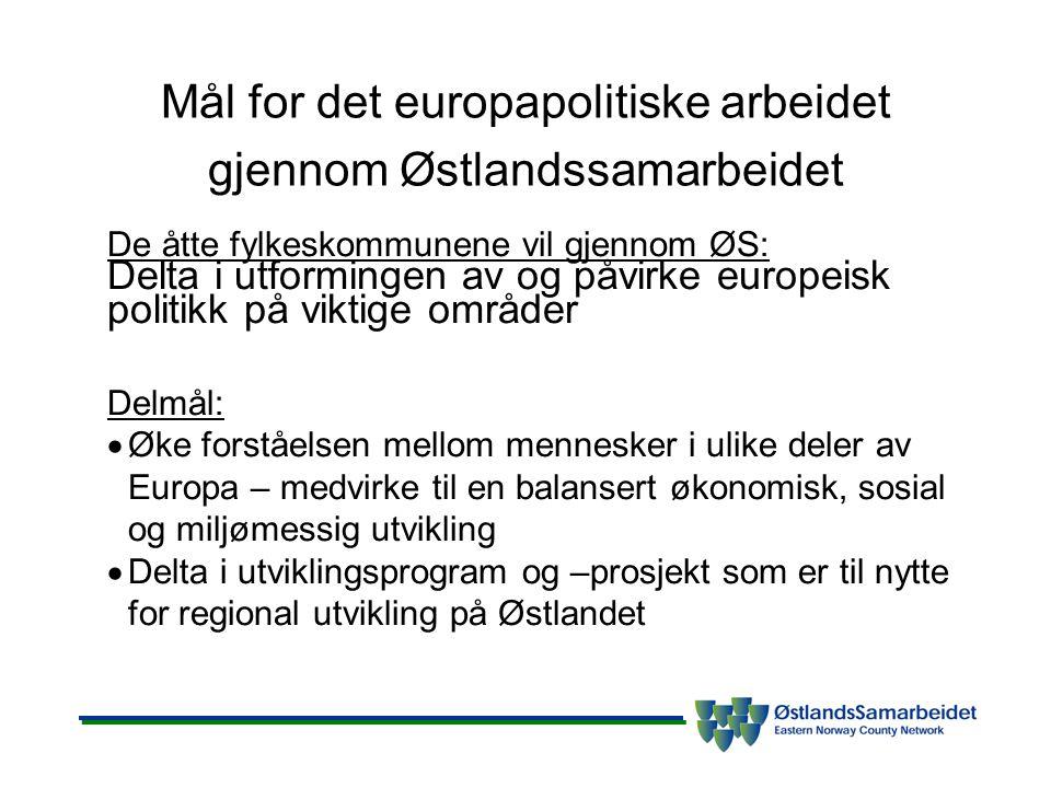 Strategier for arbeidet •Bidra til økt lokal og regional medvirkning og innflytelse – governance –Aktiv deltakelse i europeiske regionale organisasjoner –Samarbeid politisk og adm.
