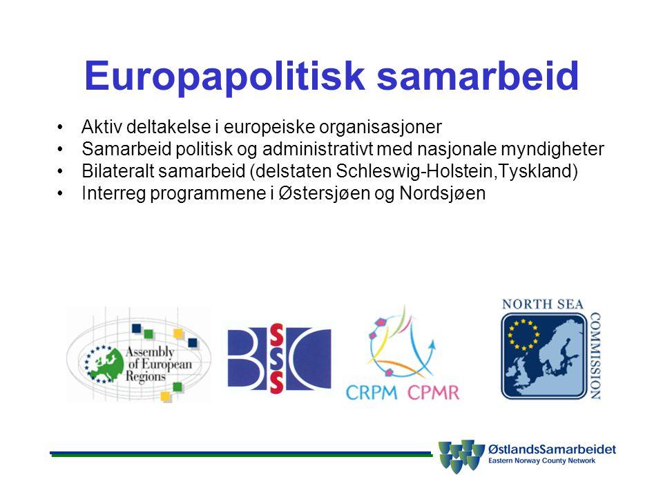Europapolitisk samarbeid •Aktiv deltakelse i europeiske organisasjoner •Samarbeid politisk og administrativt med nasjonale myndigheter •Bilateralt samarbeid (delstaten Schleswig-Holstein,Tyskland) •Interreg programmene i Østersjøen og Nordsjøen