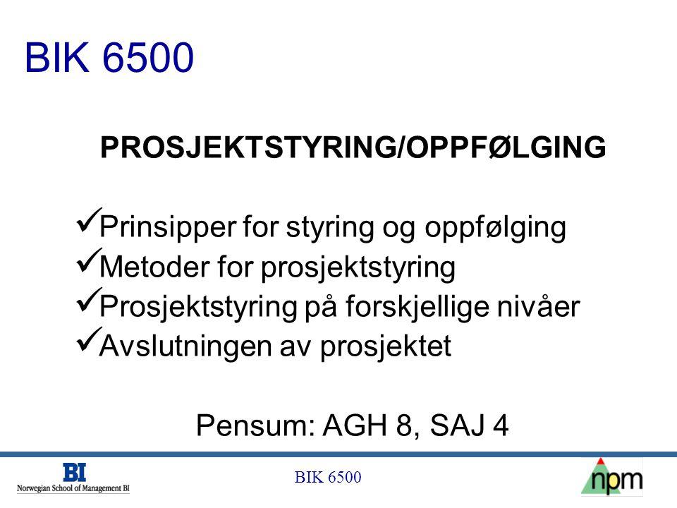 BIK 6500 PROSJEKTSTYRING/OPPFØLGING  Prinsipper for styring og oppfølging  Metoder for prosjektstyring  Prosjektstyring på forskjellige nivåer  Av