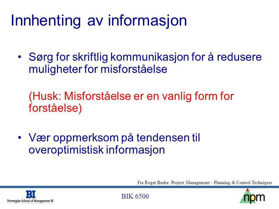 BIK 6500 Innhenting av informasjon •Sørg for skriftlig kommunikasjon for å redusere muligheter for misforståelse (Husk: Misforståelse er en vanlig for