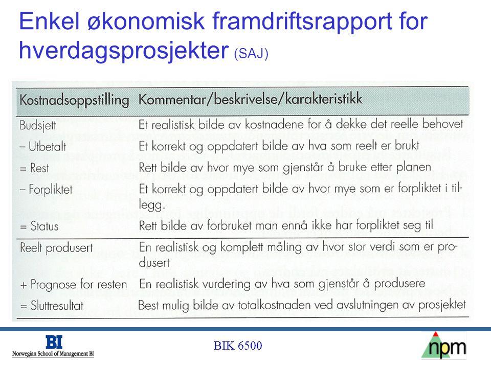 BIK 6500 Enkel økonomisk framdriftsrapport for hverdagsprosjekter (SAJ)