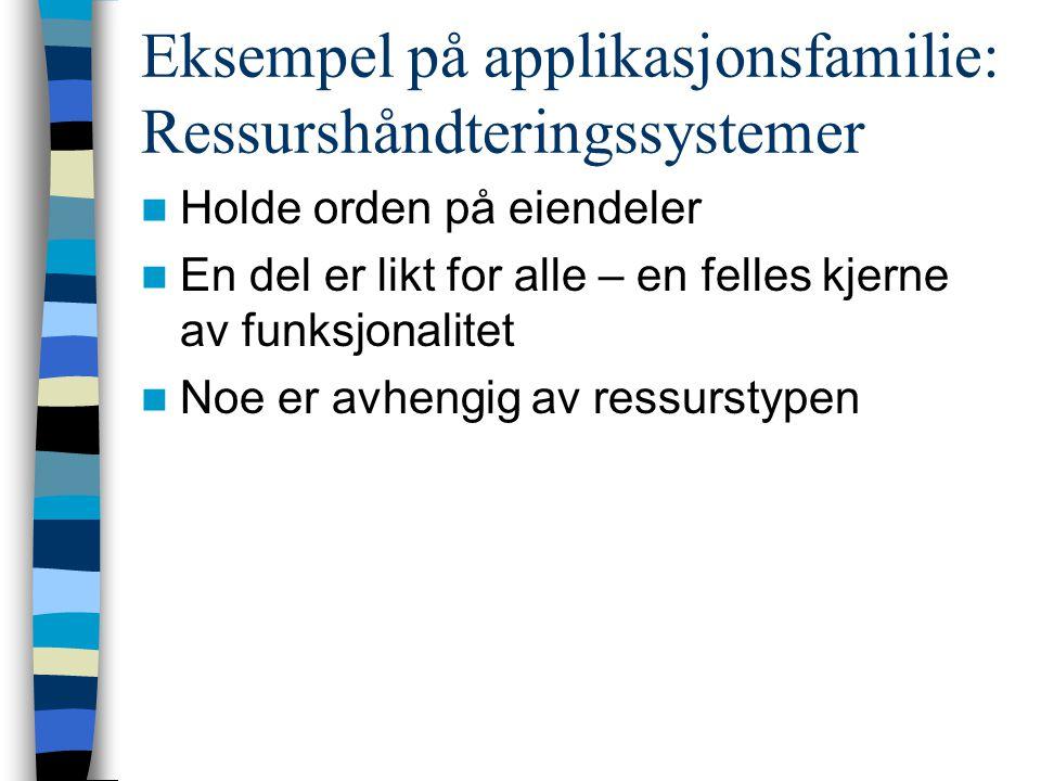 Eksempel på applikasjonsfamilie: Ressurshåndteringssystemer  Holde orden på eiendeler  En del er likt for alle – en felles kjerne av funksjonalitet  Noe er avhengig av ressurstypen