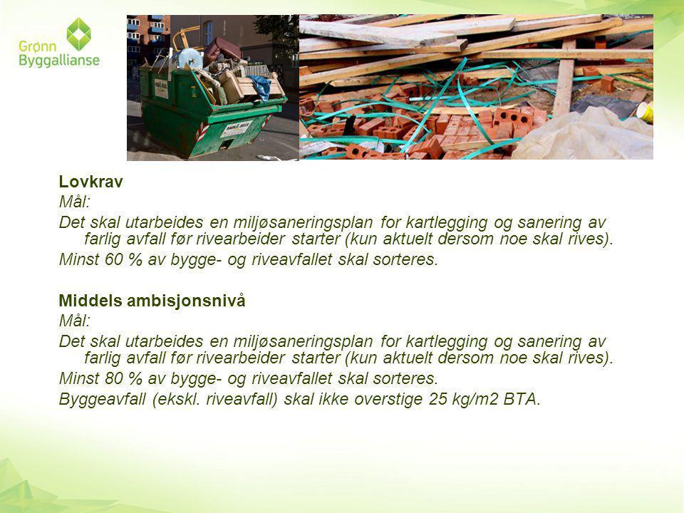 Lovkrav Mål: Det skal utarbeides en miljøsaneringsplan for kartlegging og sanering av farlig avfall før rivearbeider starter (kun aktuelt dersom noe skal rives).