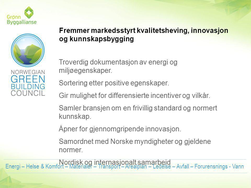 Troverdig dokumentasjon av energi og miljøegenskaper.