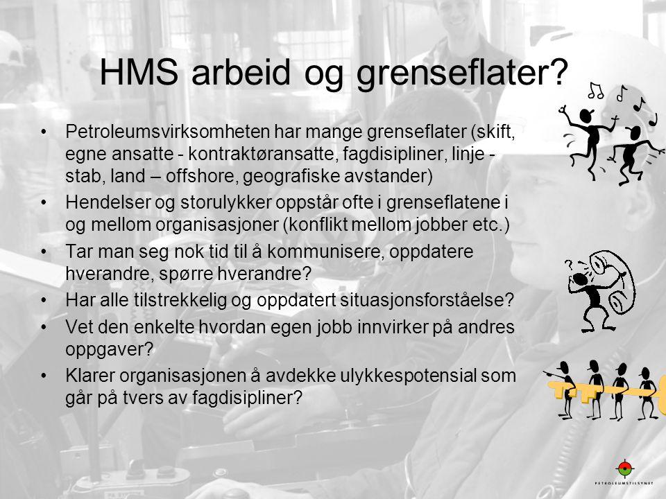 12 HMS arbeid og grenseflater? •Petroleumsvirksomheten har mange grenseflater (skift, egne ansatte - kontraktøransatte, fagdisipliner, linje - stab, l