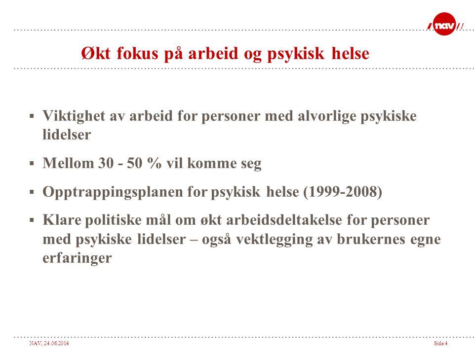 NAV, 24.06.2014Side 4 Økt fokus på arbeid og psykisk helse  Viktighet av arbeid for personer med alvorlige psykiske lidelser  Mellom 30 - 50 % vil k