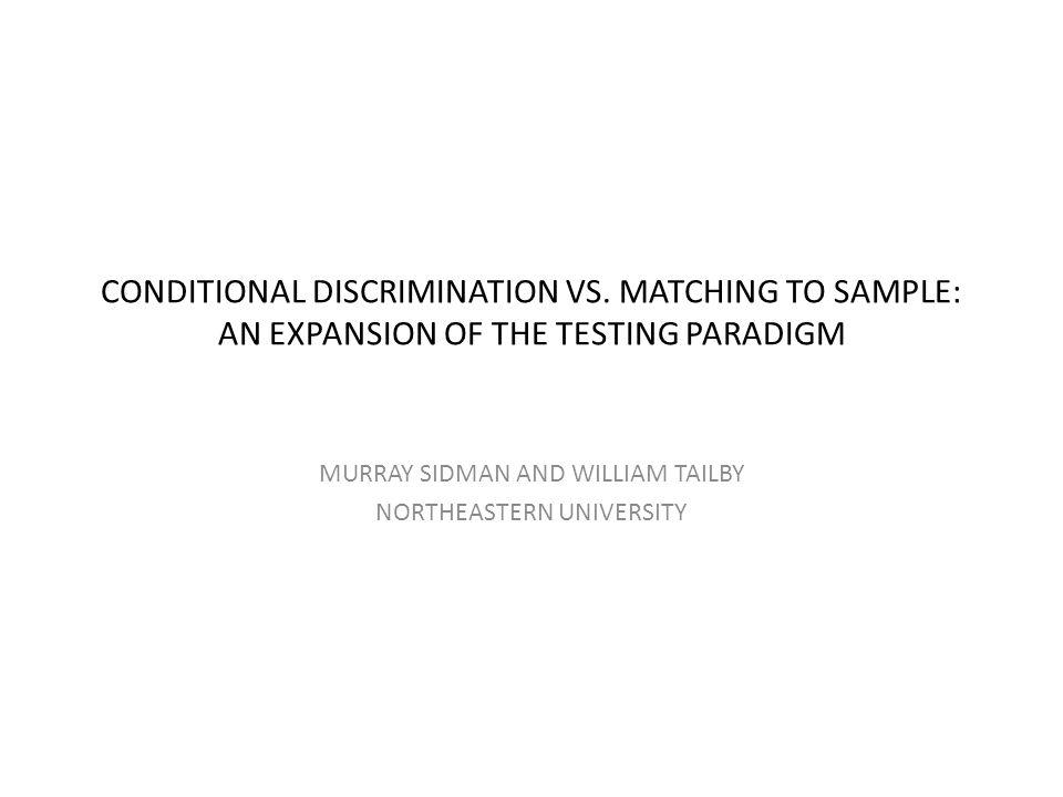 Abstrakt • En deltagers utførelse av en betinga diskriminasjonsprosedyre definerer en betinget relasjon mellom stimuli: Hvis A1, så B1; hvis A2, så B2 .