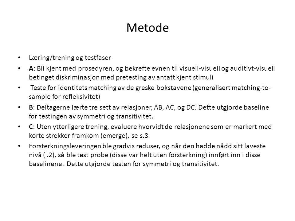 Metode • Læring/trening og testfaser • A: Bli kjent med prosedyren, og bekrefte evnen til visuell-visuell og auditivt-visuell betinget diskriminasjon