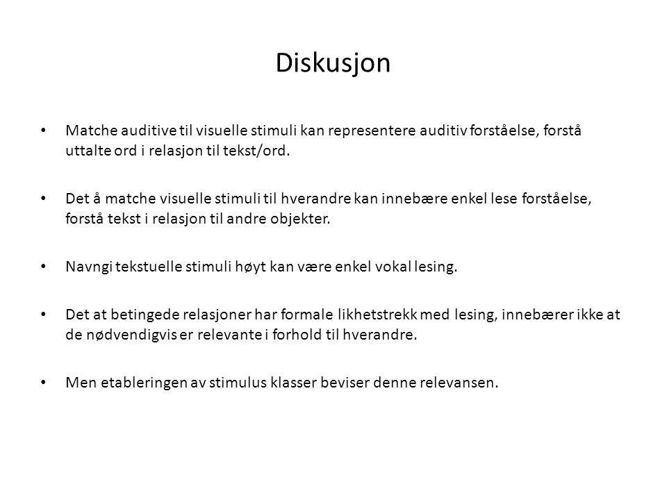 Diskusjon • Matche auditive til visuelle stimuli kan representere auditiv forståelse, forstå uttalte ord i relasjon til tekst/ord. • Det å matche visu