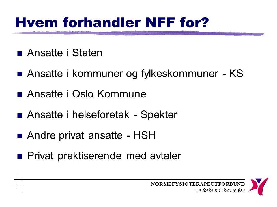 NORSK FYSIOTERAPEUTFORBUND - et forbund i bevegelse Hvem forhandler NFF for? n Ansatte i Staten n Ansatte i kommuner og fylkeskommuner - KS n Ansatte