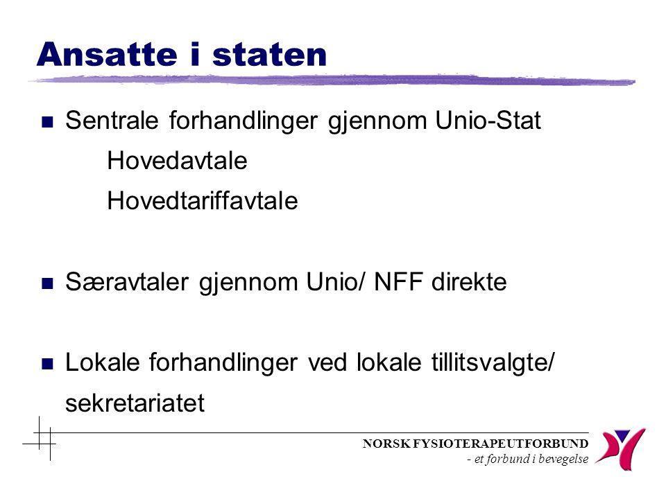 NORSK FYSIOTERAPEUTFORBUND - et forbund i bevegelse Ansatte i staten n Sentrale forhandlinger gjennom Unio-Stat Hovedavtale Hovedtariffavtale n Særavt
