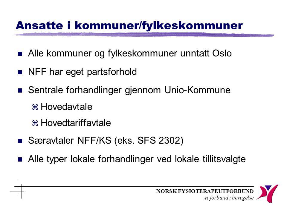 NORSK FYSIOTERAPEUTFORBUND - et forbund i bevegelse Ansatte i kommuner/fylkeskommuner n Alle kommuner og fylkeskommuner unntatt Oslo n NFF har eget partsforhold n Sentrale forhandlinger gjennom Unio-Kommune z Hovedavtale z Hovedtariffavtale n Særavtaler NFF/KS (eks.