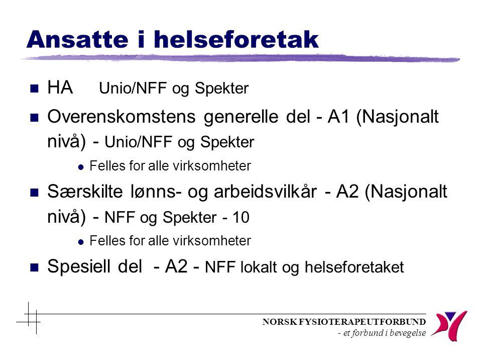 NORSK FYSIOTERAPEUTFORBUND - et forbund i bevegelse Ansatte i helseforetak n HA Unio/NFF og Spekter n Overenskomstens generelle del - A1 (Nasjonalt nivå) - Unio/NFF og Spekter l Felles for alle virksomheter n Særskilte lønns- og arbeidsvilkår - A2 (Nasjonalt nivå) - NFF og Spekter - 10 l Felles for alle virksomheter n Spesiell del - A2 - NFF lokalt og helseforetaket