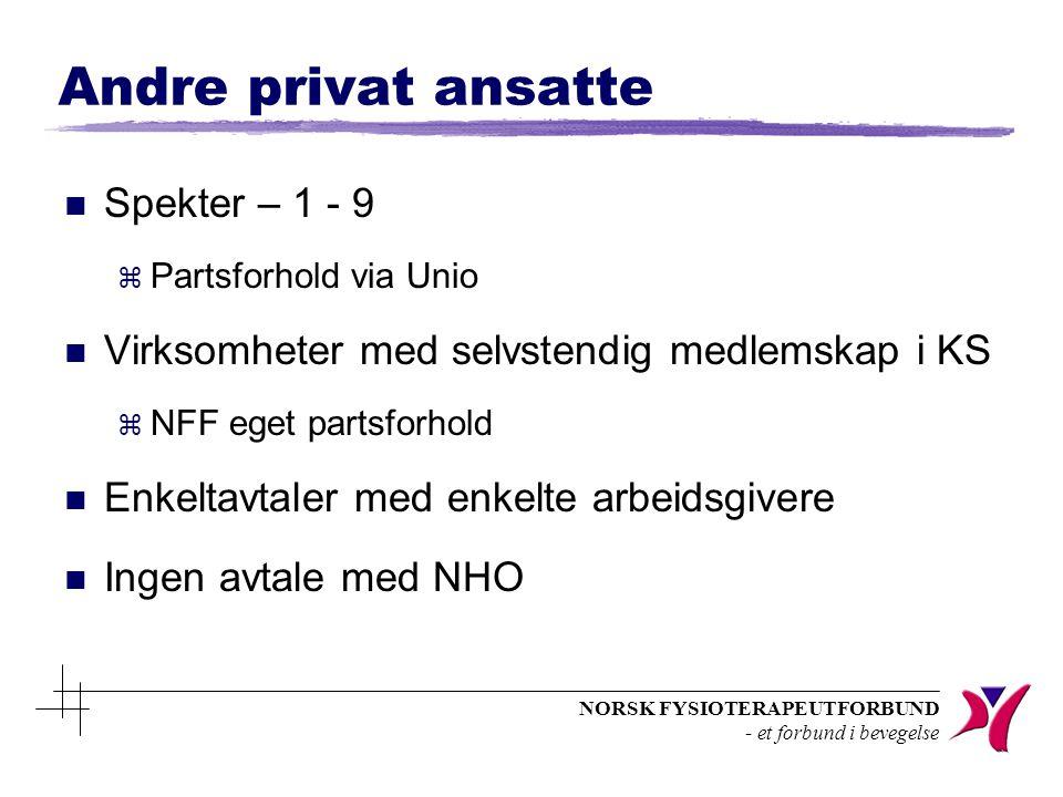 NORSK FYSIOTERAPEUTFORBUND - et forbund i bevegelse Andre privat ansatte n Spekter – 1 - 9 z Partsforhold via Unio n Virksomheter med selvstendig medl
