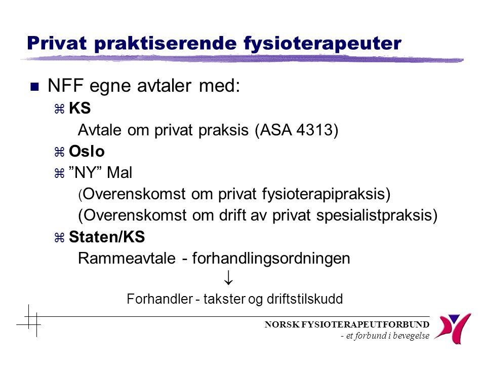 NORSK FYSIOTERAPEUTFORBUND - et forbund i bevegelse Privat praktiserende fysioterapeuter n NFF egne avtaler med: z KS Avtale om privat praksis (ASA 43