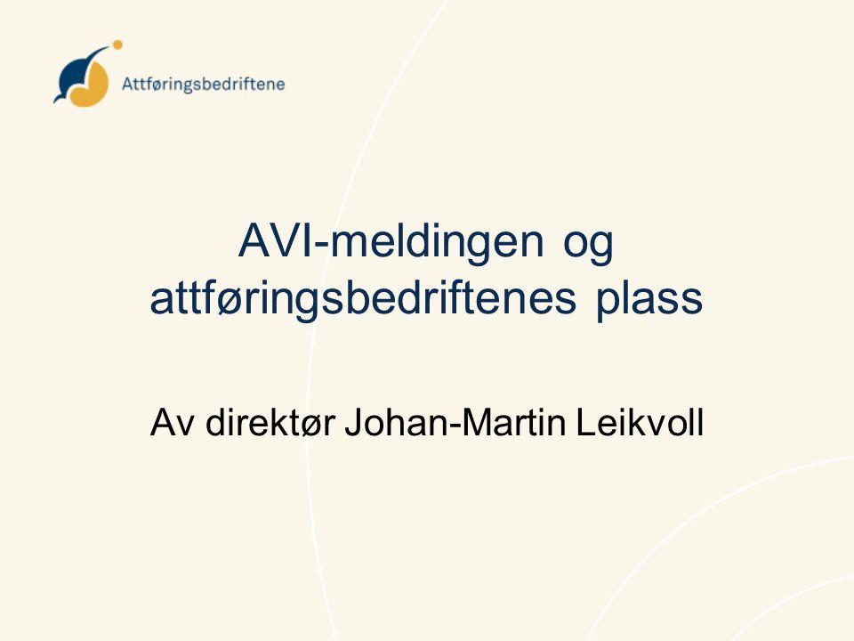 AVI-meldingen og attføringsbedriftenes plass Av direktør Johan-Martin Leikvoll