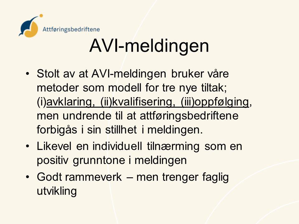 AVI-meldingen •Stolt av at AVI-meldingen bruker våre metoder som modell for tre nye tiltak; (i)avklaring, (ii)kvalifisering, (iii)oppfølging, men undr