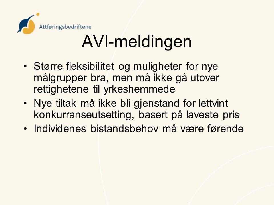 AVI-meldingen •Større fleksibilitet og muligheter for nye målgrupper bra, men må ikke gå utover rettighetene til yrkeshemmede •Nye tiltak må ikke bli
